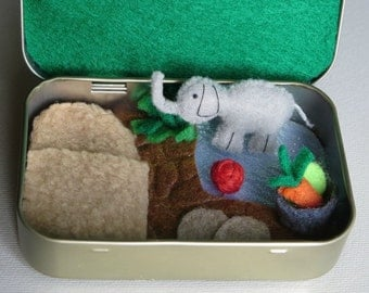 Elephant miniature stuffed animal plush Altoid tin play set with food bowl - ball and sparkling pond