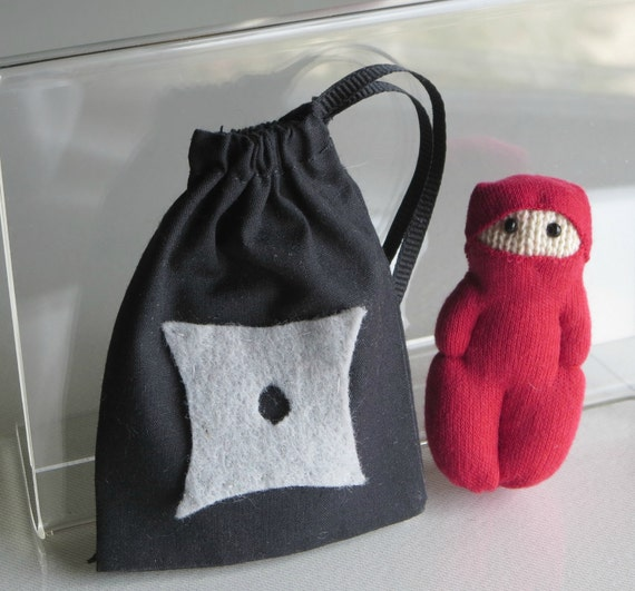 Red Ninja  soft sculpture action figure doll with drawstring bag