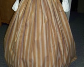 Colonial,Civil War,Victorian, Long SKIRT one size fits all Brown, Blue and beige stripe colonial print with brown or blue sash.