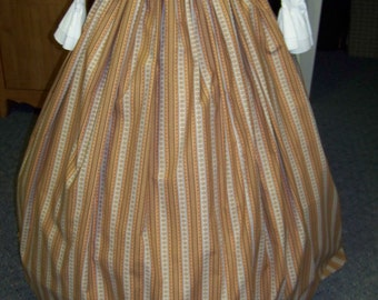Custom order for namehater67 Civil War,Victorian, Long Skirt Youth size in Brown, Teal Blue and beige stripe print with Teal blue sash.
