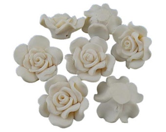 Polymer Clay White Flower Beads x 5