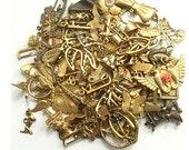 Grab Bag Brass Stamping Destash antique bronze charms, brass pendants, antiqued brass - Grab Bag #6