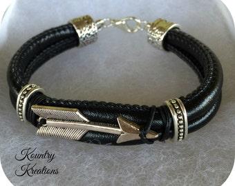 Leather Bracelet with Arrow,Bracelet, Leather Bracelet, Black Leather Bracelet, Custom Jewelry (Ready to Ship)