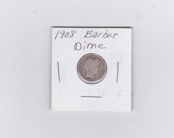 1908 Barber silver dime