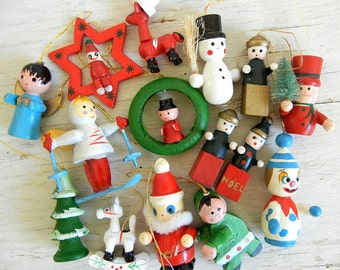 15 Vintage Christmas Wooden Ornaments | Snowman Angels Santa Tree Wreath and More