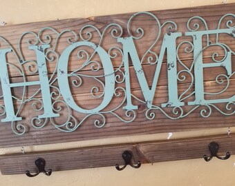 "Rustic Chic ""HOME"" Entry Wall Hanging! Entry Key Hooks, Farmhouse Decor, Reclaimed Wood, Hostess Gift,housewarming,key organizer,home,pallet"