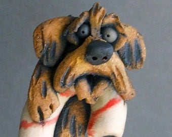 Goldendoodle or Labradoodle on a Candy Cane Ceramic Ornament or Hanging Sculpture