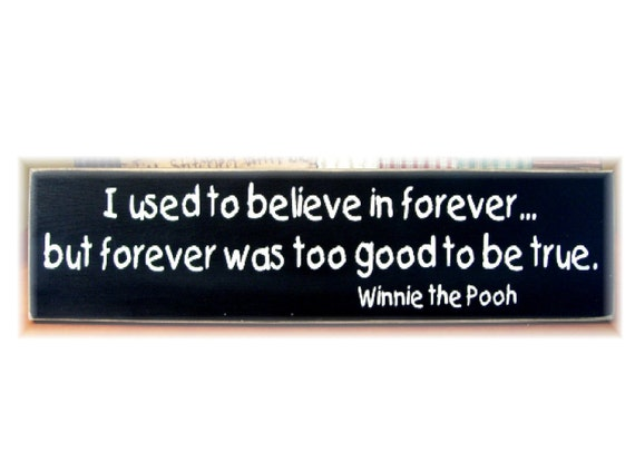 I used to believe in forever but forever was too good to be true Winnie the Pooh wood sign