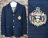 Vintage U.S. Naval Academy Suit Jacket, Wool Blazer 1970's, Men's size small, single breasted