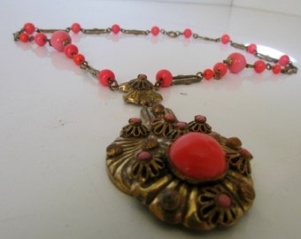 Vintage Egyptian Style Necklace Brass with Coral colored beads Necklace 1920s Art Deco