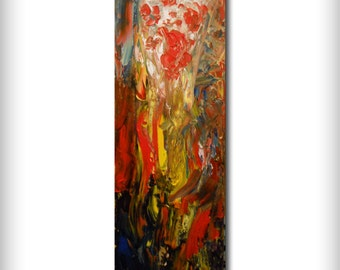 thick oil paint art oil painting abstract painting palette knife contemporary flower floral colorful red landscape 8 x 24 inch Mattsart
