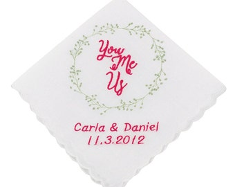 Personalized You, Me, Us Wedding Handkerchief - CH208