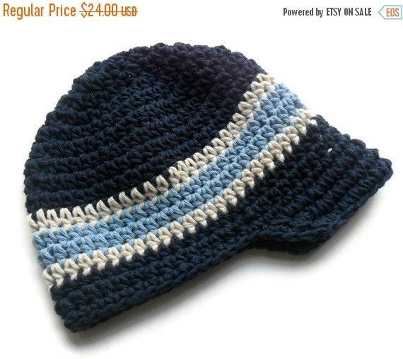 ON SALE Crochet Visor Beanie, Boys Crochet Visor Beanie, Navy Blue, Ecru and Light Blue, MADE To Order