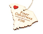 First Christmas Ornament - Laser Cut Wood with Leather Heart - Choose Your State & City - Personalized Gift Commemorative Keepsake