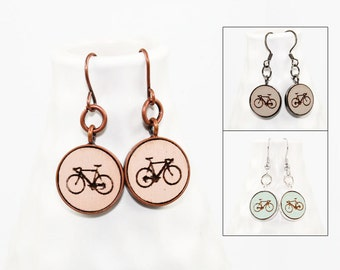 Bicycle Dangle Earrings - Laser Engraved Wood (Choose Your Color)
