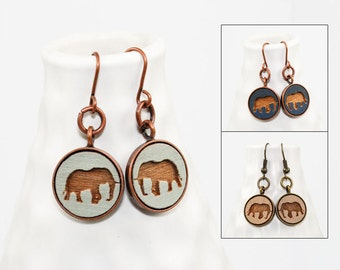 Elephant Dangle Earrings - Laser Engraved Wood (Choose Your Color)