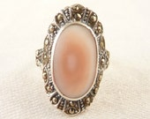 Size 8 Vintage Oval Sterling Marcasite and Pink Shell Deco Ring