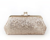 25% OFF SALE Blush Champagne Sequins Tulle Clutch | Bridesmaids | Mother's Clutch (Ready to ship)