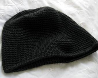 Black Crochet Tube Hat, Pull On