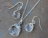Clear Swarovski Crystal briolette necklace & earring set, on sterling silver - free shipping in USA