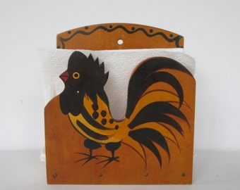 Hand Painted Rooster Napkin Holder