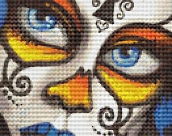 Modern Cross Stitch by Shayne of the Dead 'Treasure' - Sugar Skull CrossStitch kit