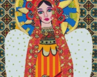 Modern cross stitch kit by Heather Galler 'Angel Virgin of Guadalupe Mexican Folk Art' - Counted cross stitch