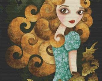 Cross stitch modern art by Sandra Vargas 'Alice' - Alice in Wonderland cross stitch kit