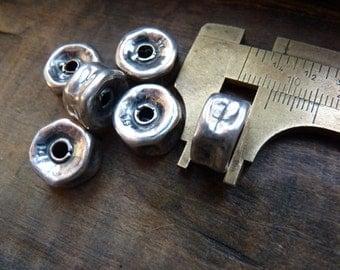 Large sterling silver rondelles