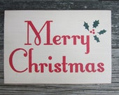 Merry Christmas Primitive Wood Sign ON SALE