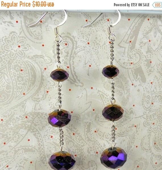 ON SALE 20% OFF Triple purple Ab czech earring dangles