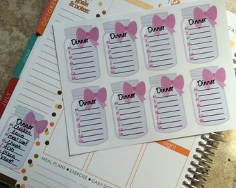 Planner Stickers Full Box Dinner Planner Fits Erin Condren Planner Weekly Meal Plan