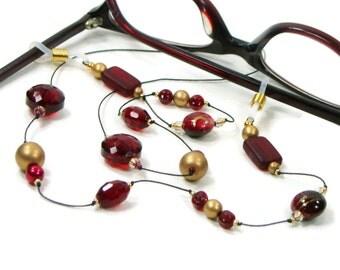 Glasses Chain Eyeglass Chain Ruby RedReading Glasses Lanyard Glasses Holder Stylish Eyewear Glasses Leash