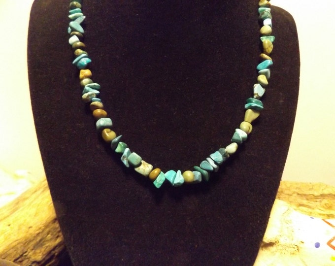 Turquoise Healing Necklace, Healing Crystal Jewelry, Healing Jewelry, Spiritual Healing Jewelry, Pagan Tribal Jewelry,  Protection Stone
