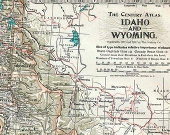 Antique Map of Idaho and Wyoming - Yellowstone National Park - 1902 Century Atlas Map - Home Decor
