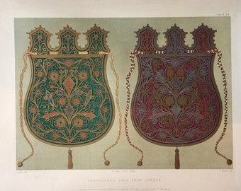 Large Antique Print of Embroidered Bags from Greece - 1852 Chromolithograph