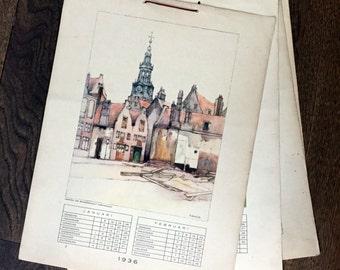 1936 Vintage Dutch Calendar