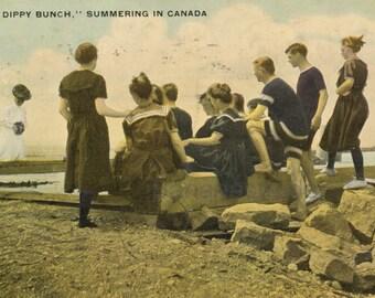 Vintage Postcard - A Dippy Bunch - Summering in Canada - Ontario Beaches - 1909 Postcard