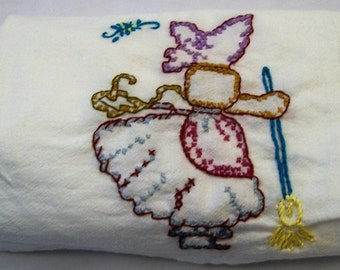 Flour Sack Towel, Old Fashion Dish Towel, Sunbonnet Sue, Sweeping the floor,  Kitchen Towel, Hand Embroidery on Dish Towel