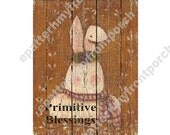 No Paint Printable DIY Primitive Bunny Painting on Boards , Print and decoupage or mount to framed canvas , looks like a wood painting