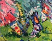 Southwest Art, Western painting, original western painting, Native American Pow Wow Dance, moccasin painting, Impressionist art, Russ Potak