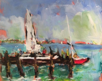 Sailboat seascape Painting, dock by the water, impressionist acrylic art, with seaside town and red boat, Russ Potak