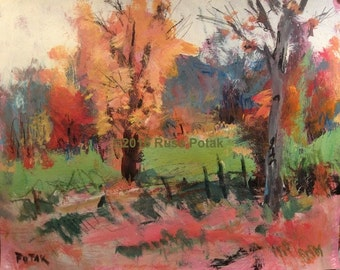 Acrylic painting, orange yellow green hand painted medium size home decor impressionist fall landscape abstract painting Russ Potak artist