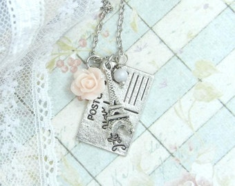 Paris Necklace I Love You Necklace Eiffel Tower Necklace Paris Gift Shabby Chic Necklace French Necklace