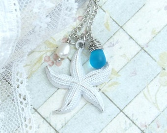 Starfish Charm Necklace Beach Necklace Seaglass Necklace Star Fish Necklace Nautical Necklace Starfish Gift