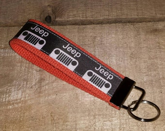 Jeep on Orange  Key Fob Keychain Wristlet