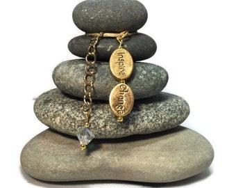Inspire Change Rock Cairn, Wishing Stones, Inspirational Gift, Belief, Zen Garden, Stacked Stone Rock, Inspirational Christmas Holiday gift