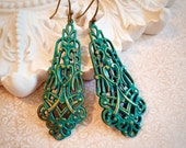Filigree Victorian Earrings - Art Nouveau Earrings - Verdigris Patina Earrings - Long Dangle - BRUSSELS