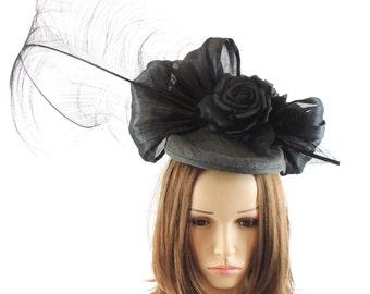 Black Khendoo Designer Silk Fascinator Hat for Kentucky Derby,Melbourne Cup, Ascot (20 colors avail)