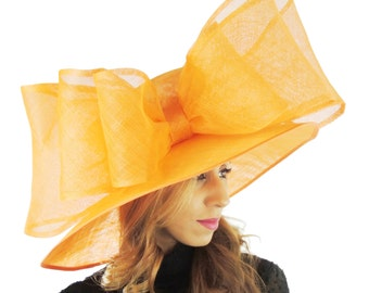 Orange MagPie Hat for Kentucky Derby, Weddings  (40 colours available)